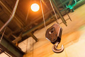 Factory hoist in a fabrication hall — Stock Photo