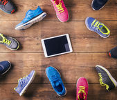 Running shoes on the floor — Stock Photo