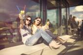 Two girls in bar — Stock Photo