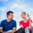Young runners  taking a break — Stock Photo #76699481