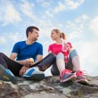 Young runners taking a break — Stock Photo #76700105
