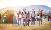 Beautiful teens at summer festival — Stock Photo