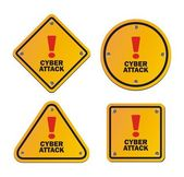 Cyber attack - warning signs — Stockvector