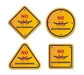 No skateboarding roadsigns — Stock Vector