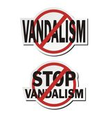 Stop vandalism - sticker sets — Stock Vector