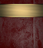 Red wall background with gold ribbon. Design template. Design site — Stock Photo