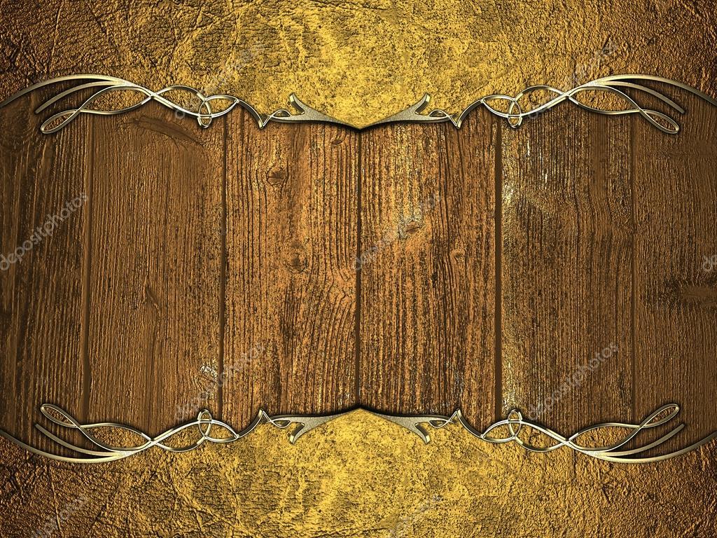 Moldura Grunge Dourado Sobre Fundo De Madeira Modelo De