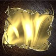 Gold plate with golden frame on old metal background. Design template. Design site — Stock Photo #53912429