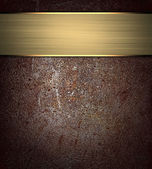Old worn brown texture with gold ribbon. Design template. Design site — Stock Photo