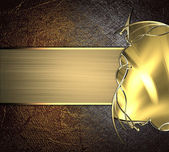 Gold plate with golden frame on old metal background. Design template. Design site — Stock Photo