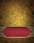 Gold background with Red plate for inscription and gold trim. Design template. Design site — Stock fotografie