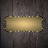 Old wooden texture with gold sign and gold trim. Design template. Design site — Stock fotografie