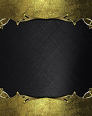 Abstract black background with gold edges with gold trim. Design template. Design site — Foto Stock
