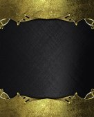 Abstract black background with gold edges with gold trim. Design template. Design site — Stock Photo