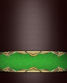 Brown background with a green sign with gold trim. Design template. Design site — Stock Photo