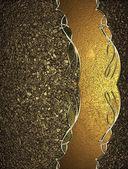 Achtergrond met goudkleurig zand met een metalen plaat met goud trim. ontwerpsjabloon. ontwerp site — Stockfoto