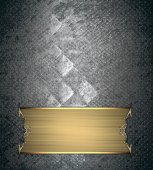 Metal texture background with gold plate and gold trim. Design template. Design site — Stock Photo