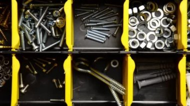 Screw and dowel in plastic organizer box. fasteners — ストックビデオ