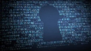 Security concept: pixelated shield with keyhole icon on digital background. Padlock cyber security concept — Stock video