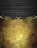 Black abstract background with old golden plate. Design template. Design site — Stock Photo