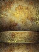 Old metallic background with cutout with gold edges. Design template. Design site — Photo
