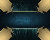 Abstract blue background with gold inlays of gold and blue ribbon. Design template. Design site — Stock Photo