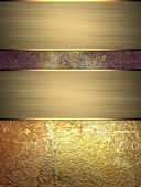 Old shabby background with golden plates of gold. Design template. Design for site — Stock Photo