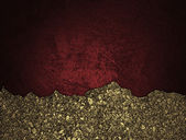Red grunge background with golden torn edge — Zdjęcie stockowe