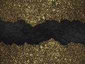 Black grunge background with golden torn edges — Stock Photo