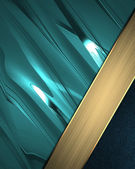Turquoise background with blue and gold ribbon around the corner — Stock Photo