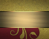 Grunge gold background with pattern and red edge with a gold plaque — Stockfoto