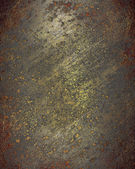 Old rusty metal plate heavily aged and corroded. The corrosion s — Stockfoto