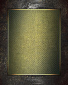 Metal texture with green sign in gold finish. Design template — Stock Photo