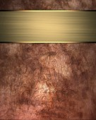 Background of iron rusty texture with gold ribbon — Stock Photo