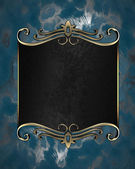 Abstract blue background with a black plate with gold trim — Stock Photo