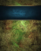 Grunge green background with metal plate. Design template. Design site — Stock Photo