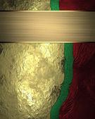 Abstrakt gyllene gröna röda textur med guld band. Mallen design för text. Mall för webbplats — Stockfoto