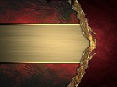 Abstract red background with gold ribbon and gold border. Design template. Design site — Stock Photo