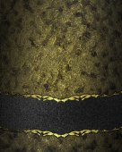 Dark texture with gold scuffed with black velvet band. Design template. Design site — Stock Photo