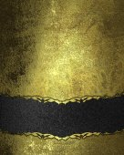 Gold grunge texture with a black velvet band. Design template. Design site — Stock Photo