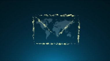 Animated e-mail icon on the background blurred world map — 图库视频影像