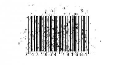Barcode scanner by barcode reader. Closeup on array of digits. chaos digits — Wideo stockowe