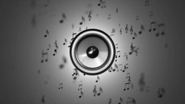 Music in the dynamics. Notes near the speaker — Stock Video