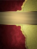 Template for design. Layout of red plates on a gold background with gold ribbon — Stock Photo