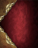 Abstract template for design. Red background with gold patterned angles — Foto Stock