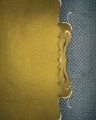 Element for design. Template for design. Grunge gold background with blue edge — Stock Photo