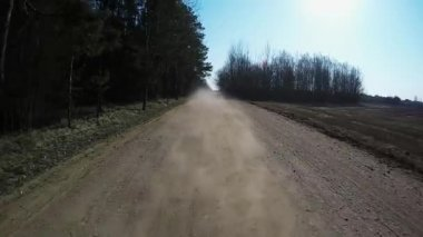 Country driving car on gravel road using a fisheye lens. Slow motion — Stock Video