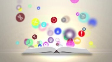 Open books and icons of science. The concept of modern education — Stock Video