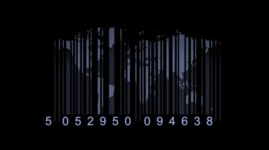 Global economy concept. World map as a barcode. world map as bar-code — Стоковое видео