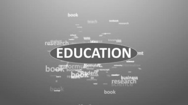 EDUCATION. Word collage on white background. Animation with different association terms. — Stock Video